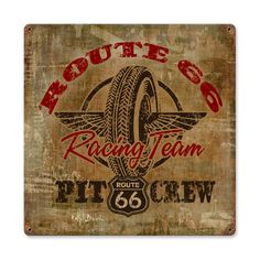 From the Ralph Burch licensed collection, this Route 66 Racing vintage metal sign measures 12 inches by 12 inches and weighs in at 1 lb(s). We hand make all of our vintage metal signs in the USA using heavy gauge american steel and a process known as sublimation, where the image is baked into a p...