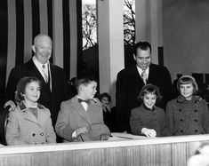 1957 President Eisenhower's grandson, David, is looking over at Vice President Nixon's daughter, Julie, at the inauguration of President Eisenhower. David Eisenhower and Julie Nixon would grow up and get married in They're still married today. Presidential History, Presidential Inauguration, Presidential Libraries, Julie Nixon Eisenhower, Dwight Eisenhower, American Presidents, American History, Our President, Interesting History