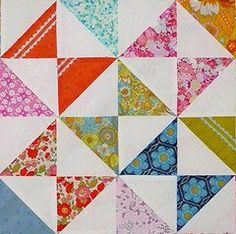 """The Hour Glass Block is really just an extension of the Half Square Triangle block in terms of piecing.  What follows is a short tutorial showing you how I have pieced the Hour Glass Blocks in this quilt top."". Red Pepper Quilts"