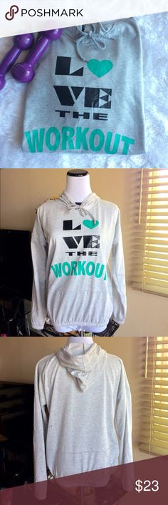 Love the Workout hoodie Perfect hoodie has a faux black crew collar, elastic waistband and arms.   Material is lightweight, used twice.                                           🚫trades Tops Sweatshirts & Hoodies