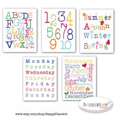 Alphabet Poster plus Numbers, Months, Seasons, Days Wall Art Prints 8.5x11in Matching Nursery sets available. Request custom sizes & colours by HappyPlaceArt on Etsy https://www.etsy.com/listing/154297384/alphabet-poster-plus-numbers-months
