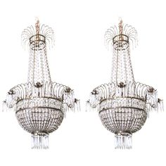 1stdibs - Rare Pair of Empire Swedish Silvered and Cut Glass Chandeliers explore items from 1,700  global dealers at 1stdibs.com