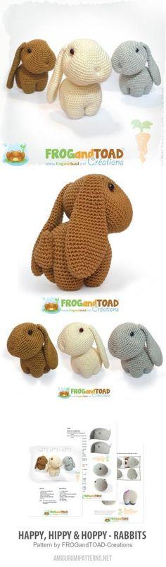 Happy, Hippy & Hoppy - Rabbits amigurumi pattern #CrochetEaster