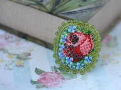 Embroidery rose brooch Beadwork brooch Bead by BeBeadsful on Etsy