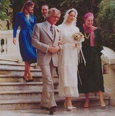 Princess Caroline and Princess Grace of Monaco at the wedding of Kees Verkade and Ludmila von Falz-Fein.October 12,1979.