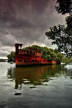 The SS Ayrfield, 100 years old army boat, used to transport US troups during World War II, and abandoned in Homebush Bay in 1972.
