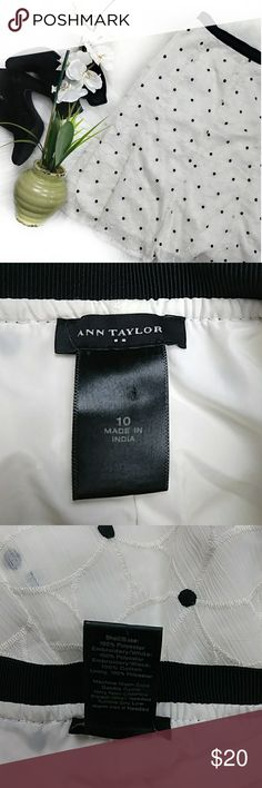 Ann Taylor polk a dot a line skirt Polk a dot skirt. Lined with white slip. Black band has zipper on side. Measurements in photos. I always take reasonable offers bundle for private discount. Good condition. *Disclaimer*Some photos are not of my own they are posted to show how the item fits, taken from Google/Pinterest. Measurements are taken on my own and are to the best of my ability. Some items are pre loved and I do my best to disclose all information about the item. Ann Taylor Skirts…