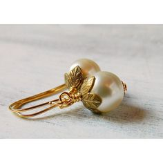 Champagne Pearl Earrings Blush Cream Earrings Boho Leaf Petal Gold... ($22) ❤ liked on Polyvore featuring jewelry, earrings, boho earrings, gold leaf earrings, gold jewellery, pearl earrings and bridal earrings