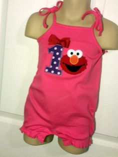 Baby Toddler Girls 1st 2nd Hot Pink elmo Birthday Party Tie Tank top, Romper or Onesie Personalized with Name and Age by EverleeBoutique on Etsy