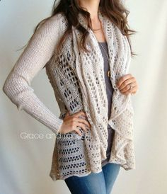 Over-sized Knit Cardi - OAT knit cardigan - knit sweater - knitted cardi - open knit shawl - grace and lace on Etsy, $44.00