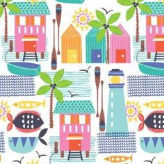 Sunsational Wish You Were Here White- Maude Asbury by Blend #fabric #quilting…