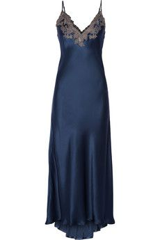 La Perla Maison Storm-blue lace-trimmed silk-blend satin nightdress | $1,040 | NET-A-PORTER | 92% silk, 4% viscose, 2% polyester, 2% nylon.  I think I would do this in TEAL for someone.