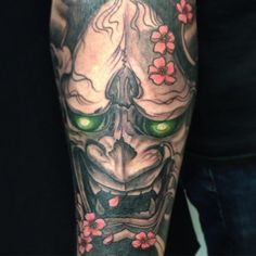 hannya mask #tattoo japanese  art Tattoo Japanese, Japanese Art, Mask Tattoo, Tatoos, Tatting, Lion, Portrait, Masks, Japan Tattoo