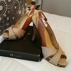 Heels Cream/Tan leopard heels, Size8 Nicole by Nicole Miller Shoes Heels