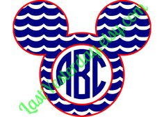 Summer Waves Beach Cruise Monogram Mickey Head DIGITAL DOWNLOAD svg jpg png Cricut Silhouette Studio cut file by LastYesterday on Etsy