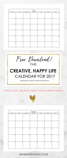 Still searching for a printable calendar free 2017? This is Part of 10 Free Planner Printables 2017. Download the printable calendar free or choose a floral version in the same post. This printable calendar monthly layout is perfect for back to school to help keep your family organized. Get your planner printables