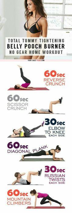 Belly Fat Burner Workout - This killer tummy-cinching routine works magic on muffin tops and that soft belly pooch and will leave your tummy tight and toned in two weeks! Fitness Workouts, Lower Ab Workouts, Easy Workouts, At Home Workouts, Exercise Workouts, Excercise, Training Workouts, Physical Exercise, Home Workout Plans