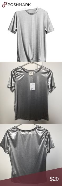 H&M studio a/w 2014 metallic silver top