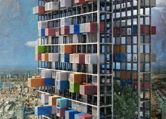 This shipping container skyscraper by Luca D'Amico and Luca Teslo consists of an exoskeletal framework into which modular shipping container homes are set. Every 100 feet there are large platforms that create a micro city inside the skyscraper complete with parks, walkways, and other outdoor spaces.