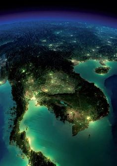 """""""A beautiful bird's eye view of Thailand at night Thailand Adventure, Thailand Travel, Cosmos, Earth At Night, Backpacking Asia, Earth From Space, Koh Tao, Natural Phenomena, Birds Eye View"""