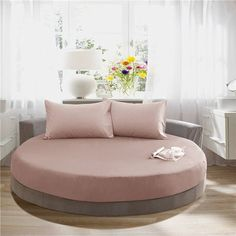 Solid Color 100% Cotton Round Fitted Sheet Set Round Bed Sheet Bedding Set Customizable Mattress Topper Diameter 200cm or 220cm