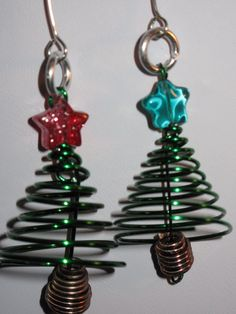2 Wire Wrapped Christmas Tree Ornaments