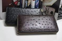 Men's Luxury Long Business Ostrich Skin Genuine Leather Wallet Phone Clutch Bag