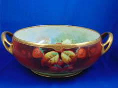 "Julius H. Brauer Studios HC Royal Bavaria Strawberry Design Centerpiece Bowl (Signed ""A. Rold""/c.1910-1916)"