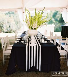 Black and White Striped Wedding! My Wedding: Black and white striped tablescape -- I like the way the runner is shaped at the lower edge.My Wedding: Black and white striped tablescape -- I like the way the runner is shaped at the lower edge. Mod Wedding, Trendy Wedding, Wedding Table, Wedding Ideas, Black Tablecloth Wedding, Black And White Tablecloth, Wedding Favor Boxes, Reception Table, Wedding Cakes