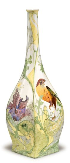 Haagsche Plateelbakkerij Rozenburg. Vase with bird, 1908. Decorated by Cornelius Willem t'Hart. Eggshell porcelain, white. H. 26.8 cm.
