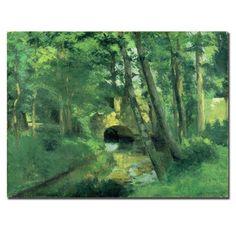 The Little Bridge - Pontoise -, 1875 by Camille Pissarro Painting Print on Canvas