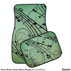 Fancy Notes Green Music Design Car Floor Mat
