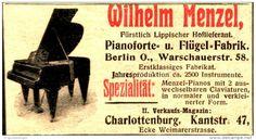 Original-Werbung/Anzeige 1906 - PIANOFORTE - UND FLÜGEL - FABRIK MENZEL CHARLOTTENBURG - ca. 80 x 40 mm