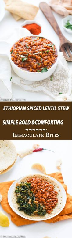 Ethiopian Lentil Stew -A healthy Vegan Ethiopian-spiced Stew with lentil. It's Quick , Easy and Layered with flavors.