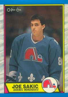 Rookie card of Joe Sakic, 2012 inductee into the Hockey Hall of Fame.