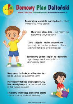 Domowy plan daltoński - Ponad Wszystko Kids Zone, Diy For Kids, Life Hacks, Kindergarten, Parenting, How To Plan, Education, Children, Fun