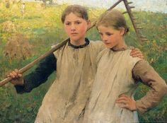 """beautifuldavinci: """" SIR GEORGE CLAUSEN, R.A., R.W.S., R.I. 1852-1944 LITTLE HAYMAKERS """""""