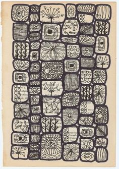 "Lives of a Cell, by Swallowfield; ""This is a signed, limited edition matte archival print of my original drawing 'lives of a cell.' it was done on the page of a vintage botany textbook."" [textured blocks on text pages] Tangle Doodle, Doodles Zentangles, Zen Doodle, Doodle Art, Doodle Patterns, Zentangle Patterns, Doodle Designs, Zantangle Art, Zen Art"