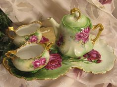 Darling Antique Hand Painted BURGUNDY ROSES Vienna Austria Austrian Tea Set ~ Tea Pot , Sugar, Creamer, Circa 1900