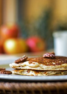 Fluffy buttermilk pancakes with apples, pecans and a touch of cardamom
