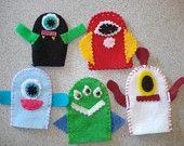 Set of 5 Alien Monster handmade felt finger puppets