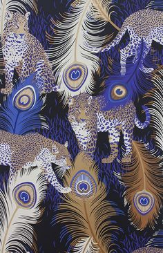The Matthew Williamson Leopard and Peacock print. The print was first designed in 2004 and printed onto jersey to create a slinky, sexy silhouette and 70s feel. Reworked it has been given a new metallic spin and pops of electric colour for our wallpaper and this card.