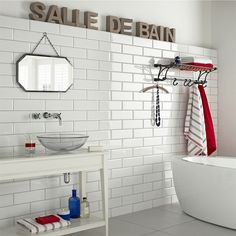 these white brick tiles are p sq m in Topps Tiles Brick Effect Wall Tiles, Brick Style Tiles, White Brick Tiles, Loft Bathroom, White Bathroom Tiles, Bathroom Tile Designs, Bathroom Wall, Brick Bathroom, Modern Bathroom