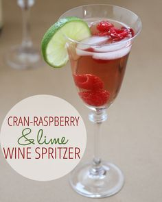 Cran Raspberry Lime Wine Spritzer / 1/3 low cal cranraspberry juice, 1/3 pinot grigio, 1/3 seltzer. Pour over ice, squeeze in fresh lime. Garnish with lime and raspberries!  Yum!