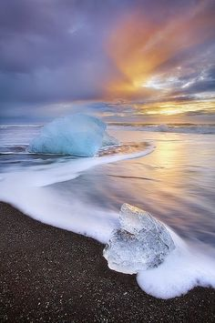 Iceland, ice, black sand, sunset