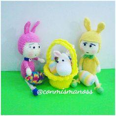 muñeco amigurumi, conejo, pascuas