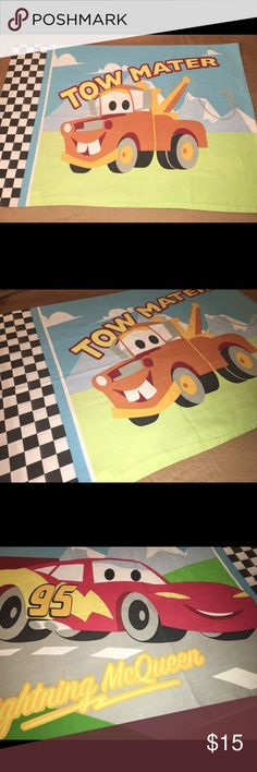 """Disney cars double sided pillow case Thank you for viewing my listing, for sale is a Disney, cars themed, pillow case. Lighting McQueen on one side, Mater on the other  This pillowcase is double-sided.  Pillowcase measures approximately 27""""X20""""  If you have any questions or would like additional photos please feel free to ask Disney Accessories"""