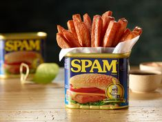 It doesn't matter what day of the week, every day is Fryday with our SPAM® Fries. They're fried SPAM® Classic and just a dab of sweet ginger sauce. Spam Fries Recipe, Spam Recipes, Copycat Recipes, Pork Recipes, Keto Recipes, Finger Food Appetizers, Finger Foods, Finger Food