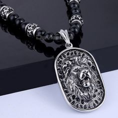 8mm X 70.6cm Black Ball Glass Bead Link 316L Stainless Steel Lion Pendant Necklace Mens Boys Chain Fashion Jewelry DLHN83