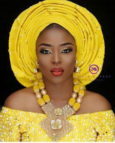 Yellow is Bae #asoebispecial #asoebi #speciallovers #makeup #wedding  Asooke @abake_aso_oke Beads @ripplebeads Glam @tintsmakeuppro